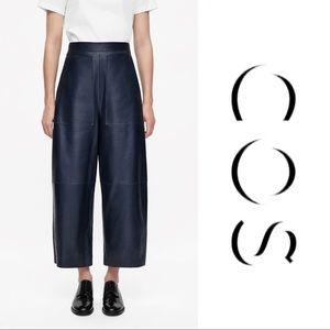 COS leather dark navy wide leg pants